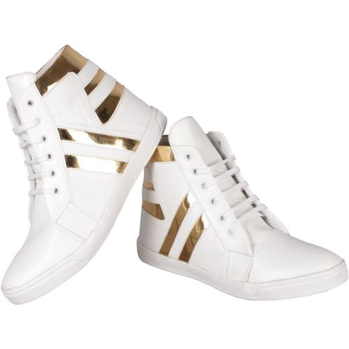Shoe Island POPULAR Icon-X Designer Leatherette High Ankle Length White Shinning Gold Casual Dance Sneakers Sneakers For Men(White, Gold, Off White)