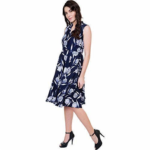 TASHI Navy Blue Crepe FIT & Flare Knee Length Dress