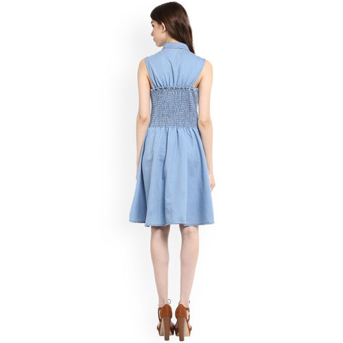 StyleStone Women Blue Solid A-Line Dress