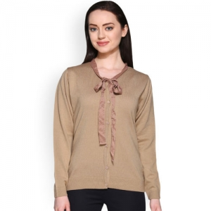 Club York Women Beige Solid Cardigan