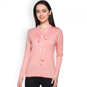 Club York Women Pink Solid Cardigan