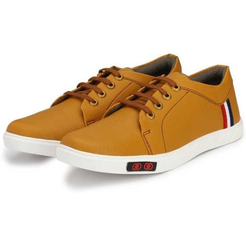 RDXO Flexible comfortable ultralight trendy classic buddies decent lace-up Sneakers For Men(Tan)