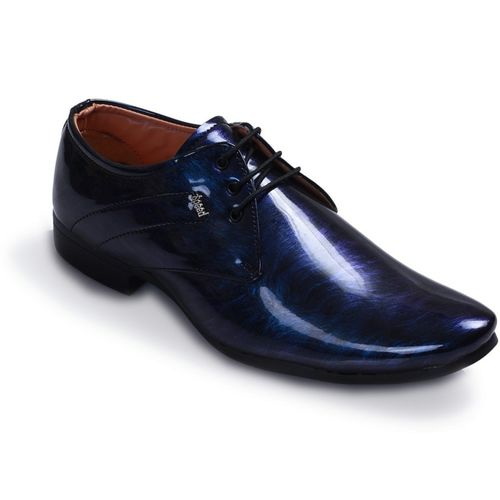 Swanwood Colorfull patent shoes Lace Up For Men(Blue, Black)