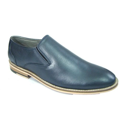 ASM Blue Leather Slip On Shoes Slip On For Men(Blue)