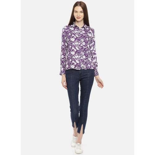 Moda Rapido Purple & White Regular Fit Printed Casual Shirt Style Top