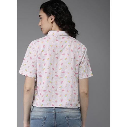 Moda Rapido Women White & Pink Regular Fit Printed Casual Shirt