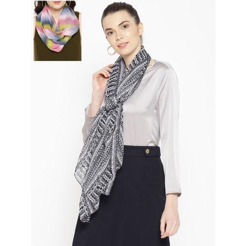 Trend Arrest Women Pack of 2 Multicoloured Printed Scarves
