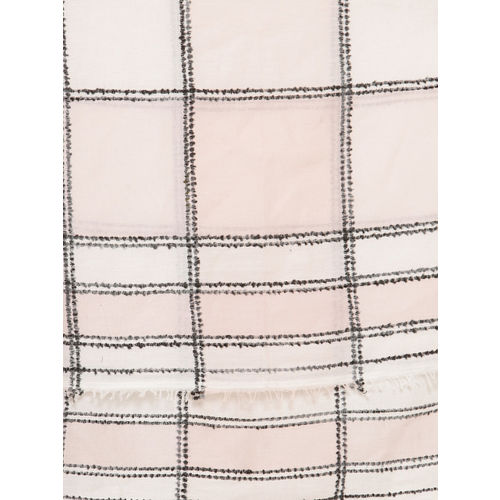 J Style Women Pink & White Checked Scarf