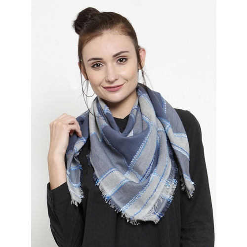 J Style Women Blue Checked Scarf