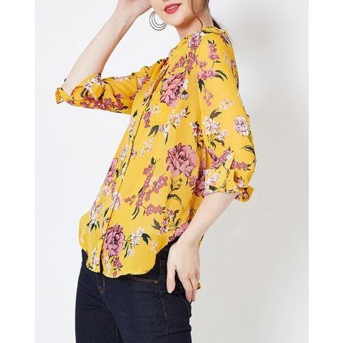 Oxolloxo Floral Print Shirt with Mandarin Collar