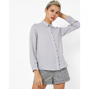 PROJECT EVE WESTERN WEAR Self-Striped Shirt with Scalloped Placket