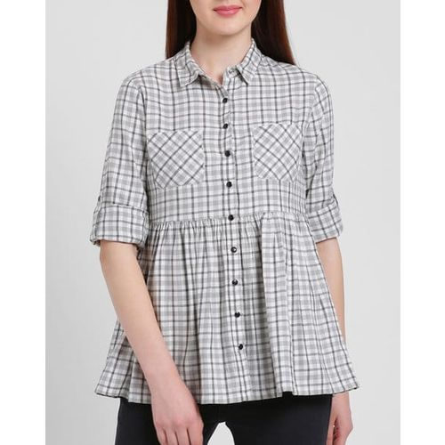 Texco Checked Shirt Top with Pep Hemline