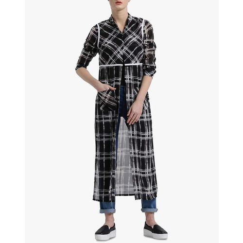 Texco Checked Tunic Shirt with Multiple Slits