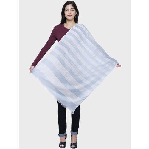 Anekaant Women Blue & White Striped Stole