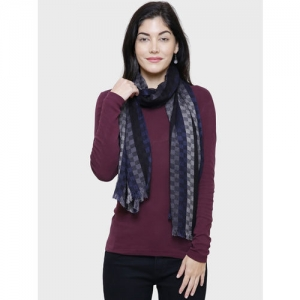 Anekaant Women Black & Blue Checked Stole