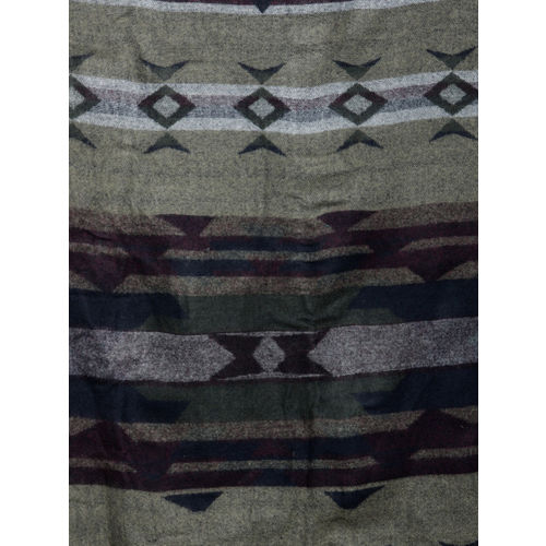 J Style Women Olive Green & Grey Woven Design Stole
