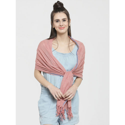 J Style Women Red & White Checked Stole