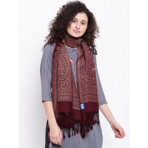 HK colours of fashion Women Burgundy & Beige Woven Design Stole