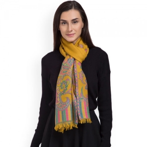SHINGORA Women Yellow Woven Design Stole