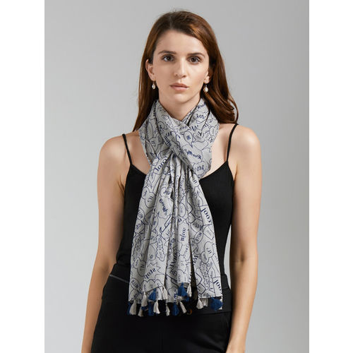 Vozaf Women Grey & Navy Blue Pop up Scarf with Pom Pom Printed Stole