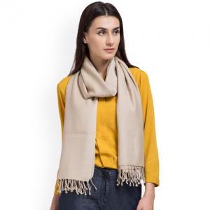 SHINGORA Women Beige Solid Woollen Stole
