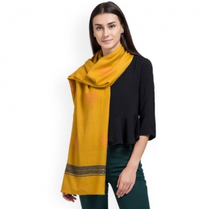 SHINGORA Women Mustard Woven Design Stole