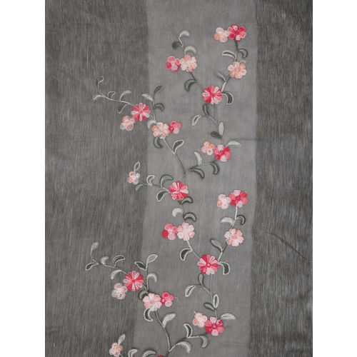 FabSeasons Grey Embroidered Scarf