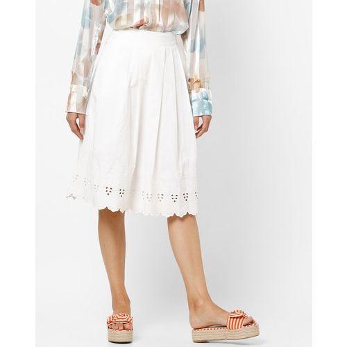 PROJECT EVE WESTERN WEAR Schiffli Mid-Rise Pleated A-line Skirt