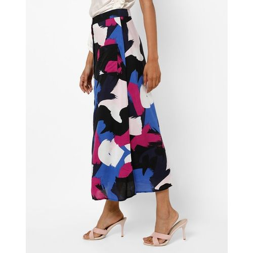 Femella Printed A-line Skirt with Patch Pockets