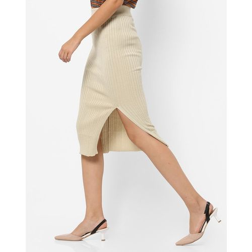 TRENDYOL High-Rise Textured Pencil Skirt with Front Slit