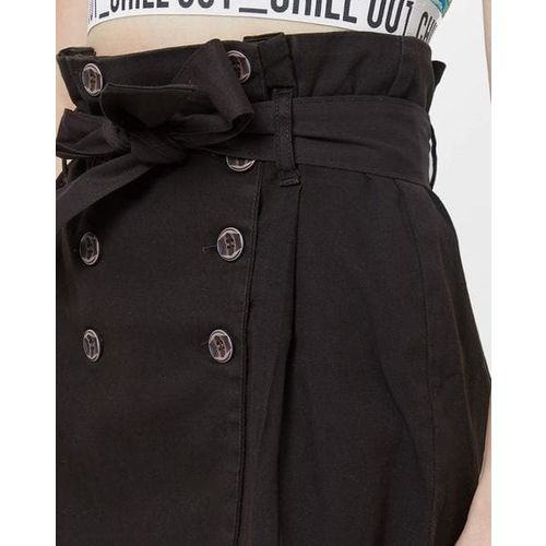 TRENDYOL Panelled A-line Mini Skirt with Paper Bag Wais