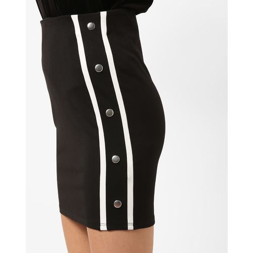 TALLY WEiJL Mini Pencil Skirt with Button Accent