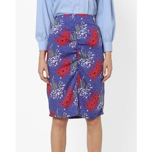 AJIO Floral Print Skirt with Front Slit