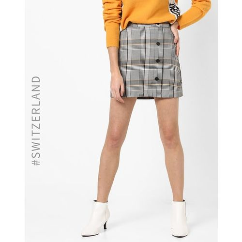 TALLY WEiJL Checked Mid-Rise A-line Skirt
