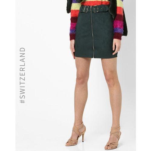 TALLY WEiJL Textured A-line Dress with Front Zip Closure