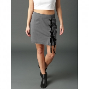 Roadster Grey Solid Lace-Up Mini Skirt