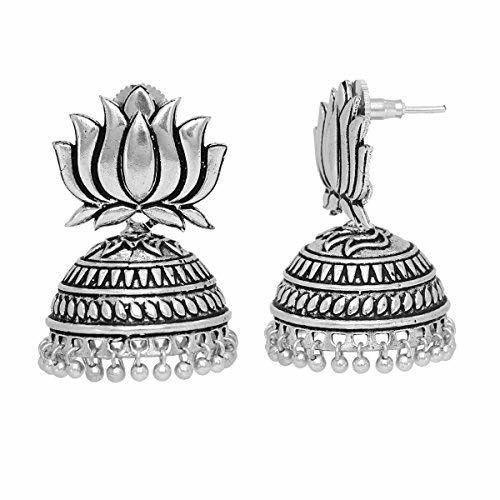 Jaipur Mart Silver Jhumki Earrings (GSE466$P)
