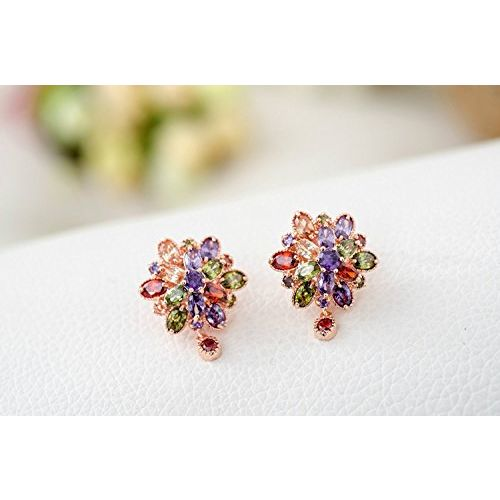 YouBella Jewellery Earrings for Women Stylish earrings Combo Set of Two Multi-Color AAA Crystal earings Stylish Fancy Party wear ear rings for Girls and Women