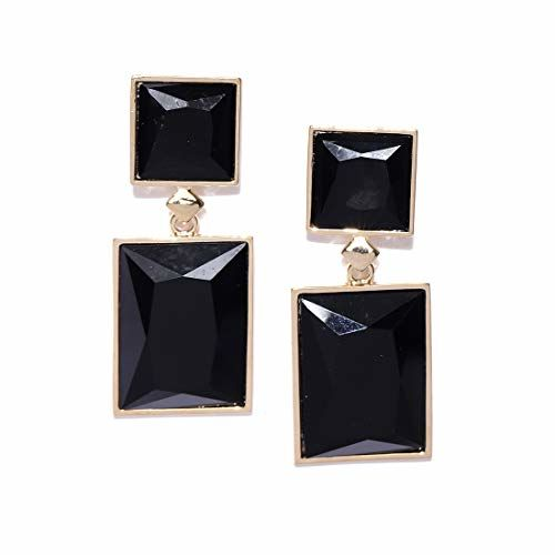 Jewels Galaxy Trendy Geometric Gold Plated Sparkling Drop Earrings For Women/Girls