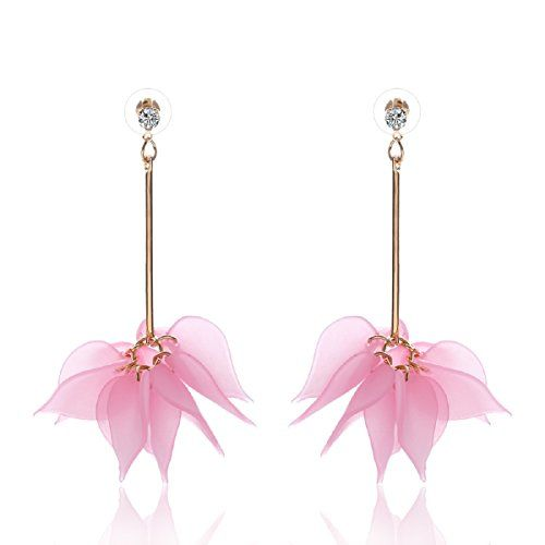Sansar India Crystals Flower Drop Earrings for Girls and Women