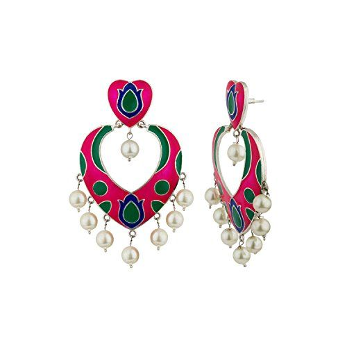 Katha by Voylla Silver Plated Drop Earrings for Women (8907617655154)