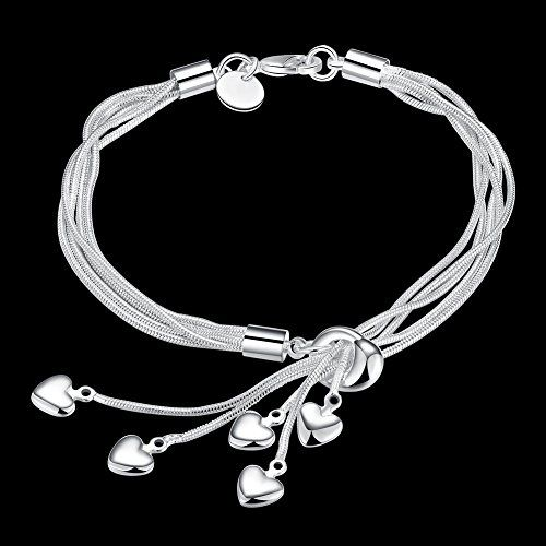 Yellow Chimes Hanging Charms Sterling Silver Plated Charm Bracelet for Women & Girls