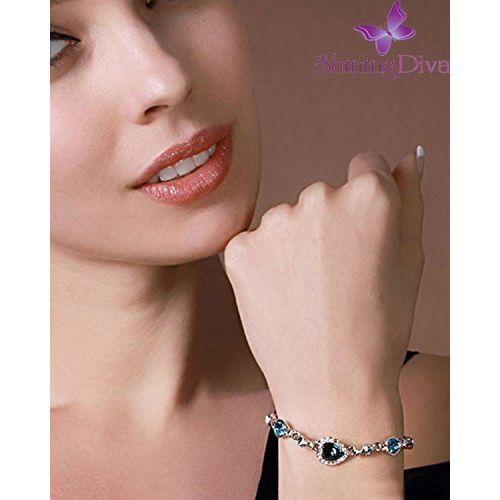 Shining Diva Fashion Non Precious Metal Jewelry Romantic Gift of True Love Titanic Heart Bracelet for Women and Girls (Blue)(9502b)