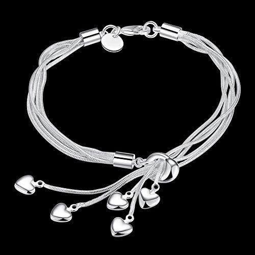 Shining Diva Fashion Heart Charms Silver Plated Bracelet for Women and Girls