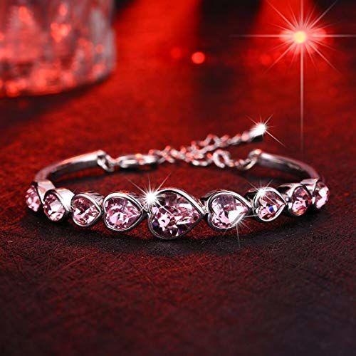 NEVI Crystals from Swarovski Deep Ocean Love Hearts Bracelet for Women and Girls