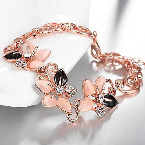 Yellow Chimes Floral Designer 18k Rose Gold by Yellow Chimes Gold Plated and Opal Charm Bracelet for Women (Rose Gold) (YCFJBR-161OPL-RG)
