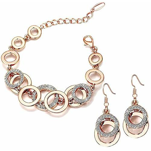 Shining Diva Fashion AAA Crystal 18k Rose Gold Jewellery for Women and Girls