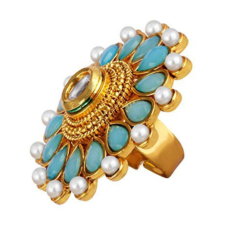 Spargz Antique Gold Plated Blue Stone Kundan with Pearls Traditional Adjustable Finger Ring for Women AIFR 121