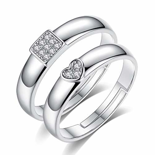 Saissa Silver Heart Square Shaped Metal Free Size Adjustable Couple Rings for Men and Women