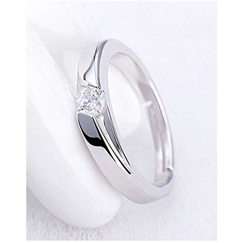 karatcart Platinum Plated Silver Metal Elegant Couple Adjustable Solitare Ring for Men and Women
